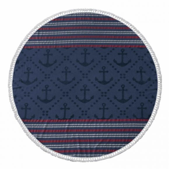 Anchor Round Beach Towels - Navyy